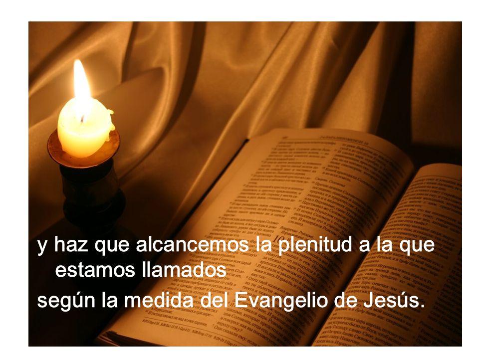 y haz que alcancemos la plenitud a la que estamos llamados según la medida del Evangelio de Jesús.