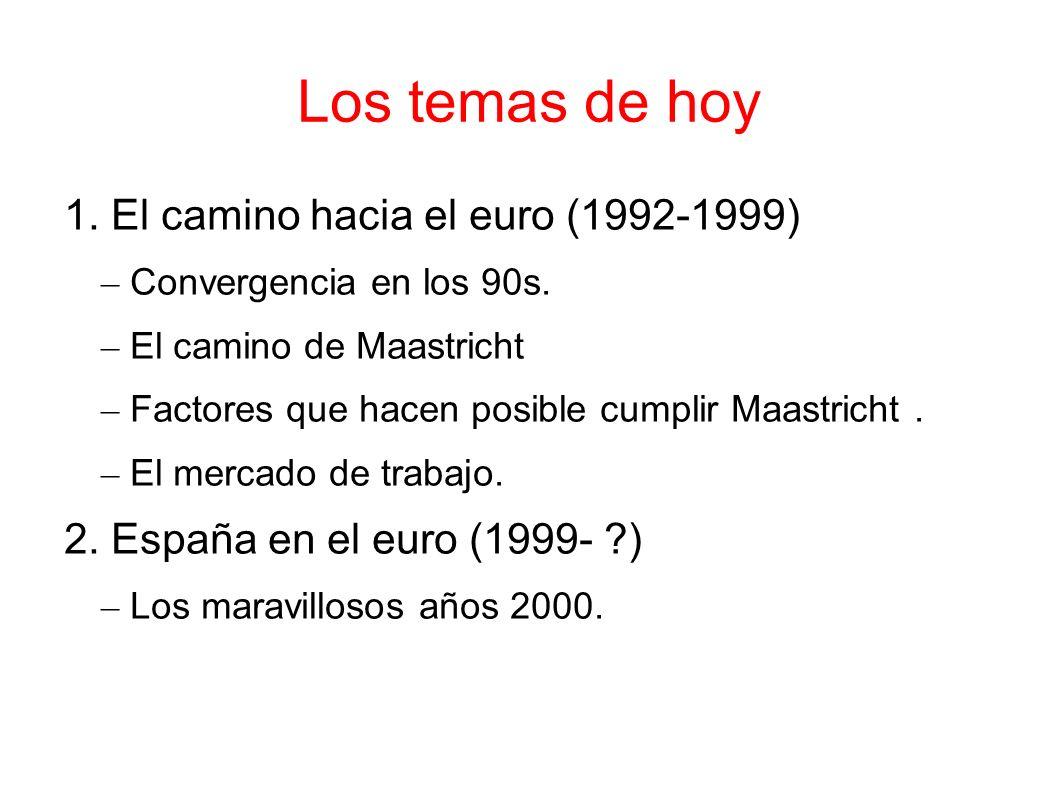 Los temas de hoy 1. El camino hacia el euro (1992-1999) – Convergencia en los 90s. – El camino de Maastricht – Factores que hacen posible cumplir Maas