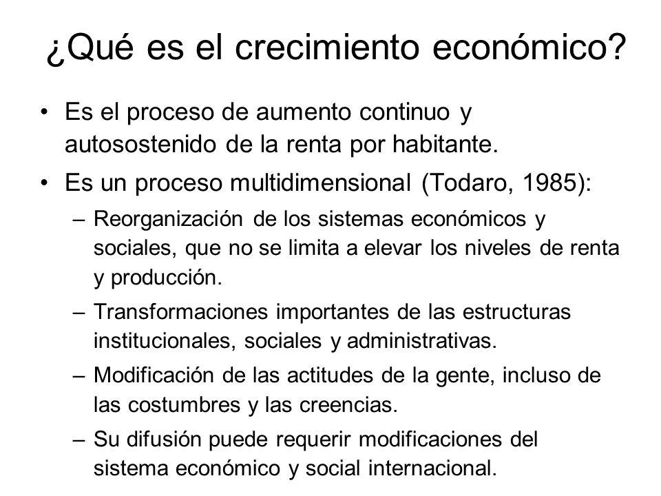 ¿Qué es el crecimiento económico? Es el proceso de aumento continuo y autosostenido de la renta por habitante. Es un proceso multidimensional (Todaro,