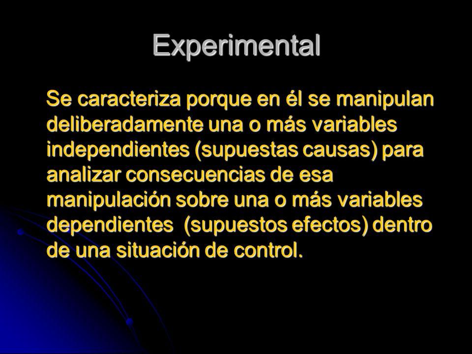 Experimental Se caracteriza porque en él se manipulan deliberadamente una o más variables independientes (supuestas causas) para analizar consecuencia