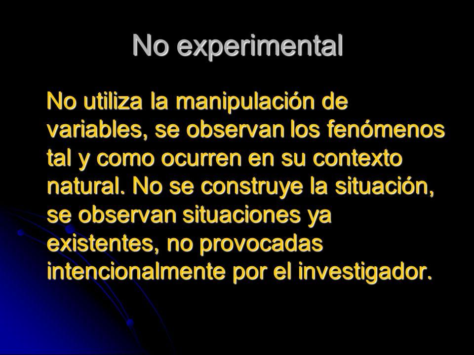 No experimental No utiliza la manipulación de variables, se observan los fenómenos tal y como ocurren en su contexto natural. No se construye la situa