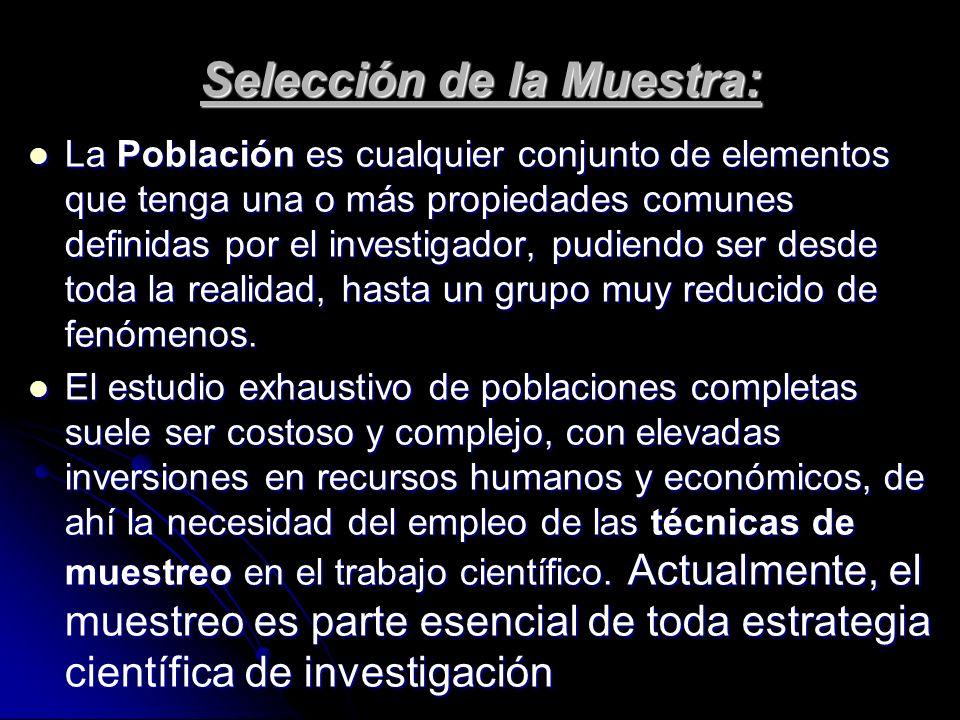 Selección de la Muestra: La Población es cualquier conjunto de elementos que tenga una o más propiedades comunes definidas por el investigador, pudien