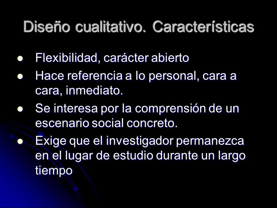 Diseño cualitativo. Características Flexibilidad, carácter abierto Flexibilidad, carácter abierto Hace referencia a lo personal, cara a cara, inmediat