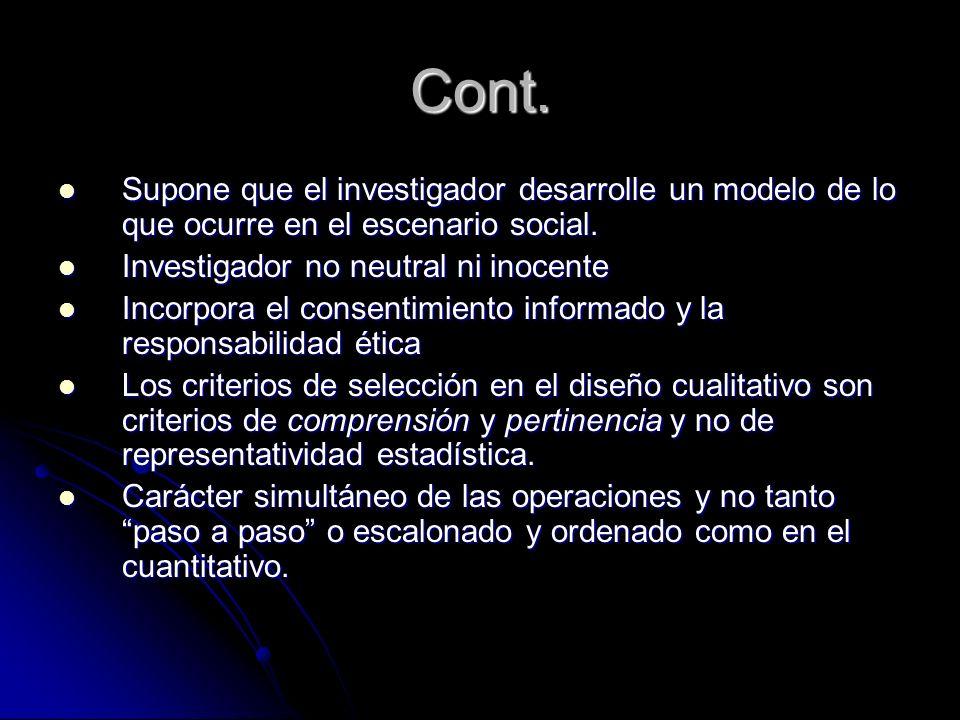 Cont. Supone que el investigador desarrolle un modelo de lo que ocurre en el escenario social. Supone que el investigador desarrolle un modelo de lo q
