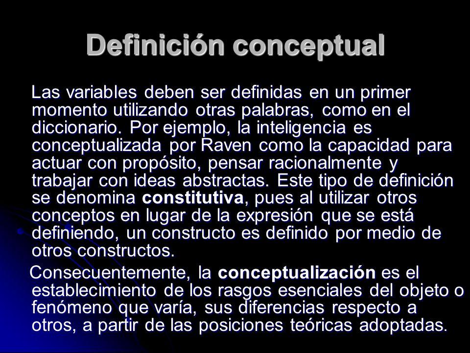 Definición conceptual Las variables deben ser definidas en un primer momento utilizando otras palabras, como en el diccionario. Por ejemplo, la inteli