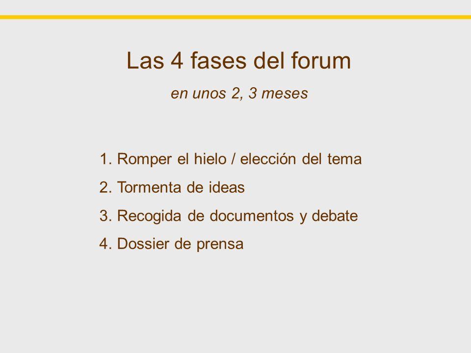 Las 4 fases del forum en unos 2, 3 meses 1.Romper el hielo / elección del tema 2.Tormenta de ideas 3.Recogida de documentos y debate 4.Dossier de prensa