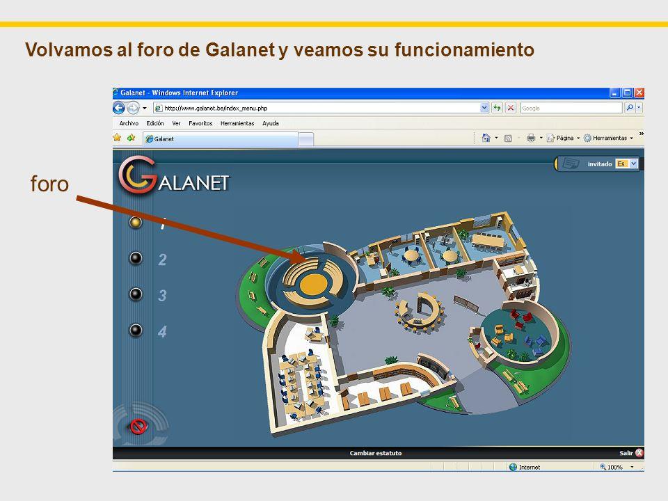 foro Volvamos al foro de Galanet y veamos su funcionamiento