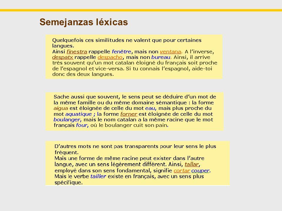Algunas de las ayudas potenciar los conocimientos previos - temáticas y tipología textual potenciar la transparencia léxica y gramatical - los puentes grafo-fonológicos - las correspondencias gramaticales menos conocidas - la estructura semántica del léxico potenciar las estrategias de comprensión fundamentales - análisis del contexto - análisis morfológico - recursos específicos de la lengua oral proponer ayudas con enfoque plurilingüe trabajar los elementos opacos