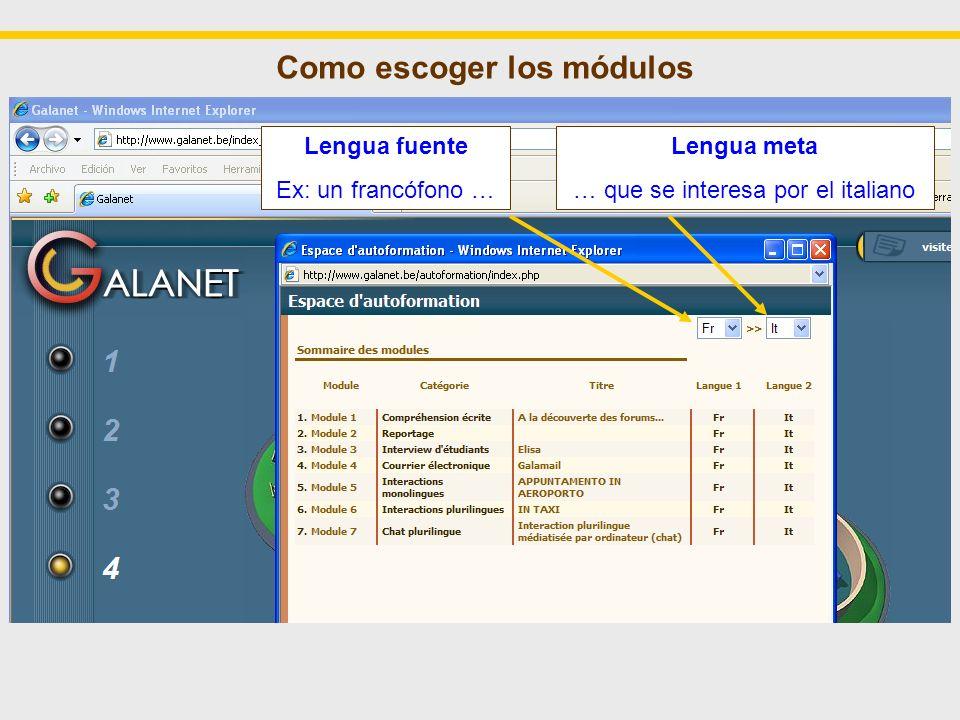 Como escoger los módulos Lengua fuente Ex: un francófono … Lengua meta … que se interesa por el italiano