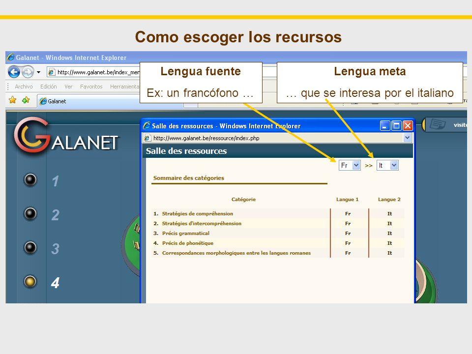 Como escoger los recursos Lengua meta … que se interesa por el italiano Lengua fuente Ex: un francófono …