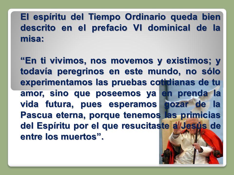 El espíritu del Tiempo Ordinario queda bien descrito en el prefacio VI dominical de la misa: En ti vivimos, nos movemos y existimos; y todavía peregri