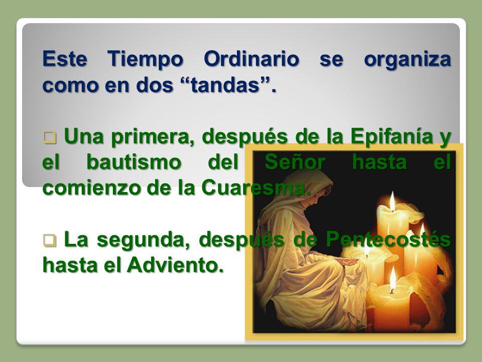 Este Tiempo Ordinario se organiza como en dos tandas. Una primera, después de la Epifanía y el bautismo del Señor hasta el comienzo de la Cuaresma. Un