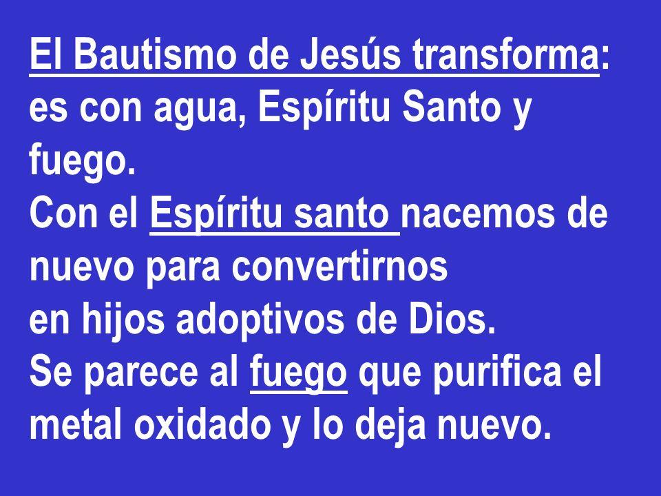 El Bautismo de Jesús transforma: es con agua, Espíritu Santo y fuego. Con el Espíritu santo nacemos de nuevo para convertirnos en hijos adoptivos de D