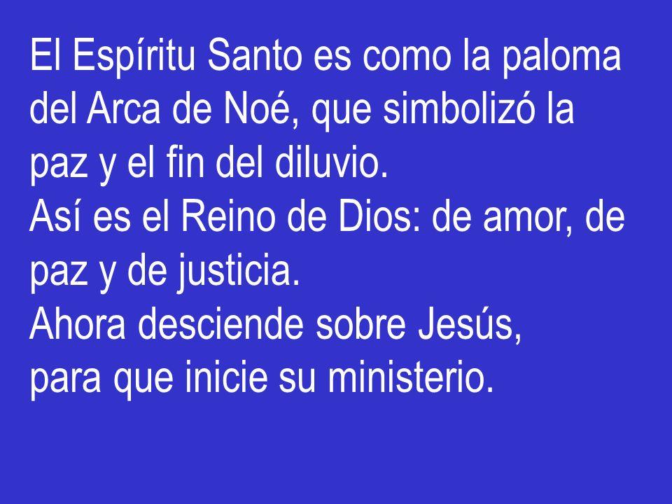 El Espíritu Santo es como la paloma del Arca de Noé, que simbolizó la paz y el fin del diluvio. Así es el Reino de Dios: de amor, de paz y de justicia