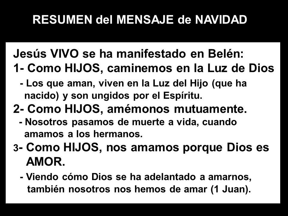 RESUMEN del MENSAJE de NAVIDAD Jesús VIVO se ha manifestado en Belén: 1- Como HIJOS, caminemos en la Luz de Dios - Los que aman, viven en la Luz del H