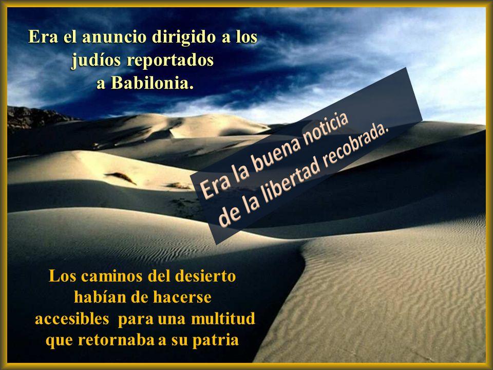 - Una voz grita en el desierto: Preparen el camino del Señor, allanen sus senderos; elévense los valles, desciendan los montes y colinas… Y todos verá