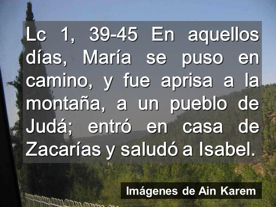 Lc 1, 39-45 En aquellos días, María se puso en camino, y fue aprisa a la montaña, a un pueblo de Judá; entró en casa de Zacarías y saludó a Isabel. Im