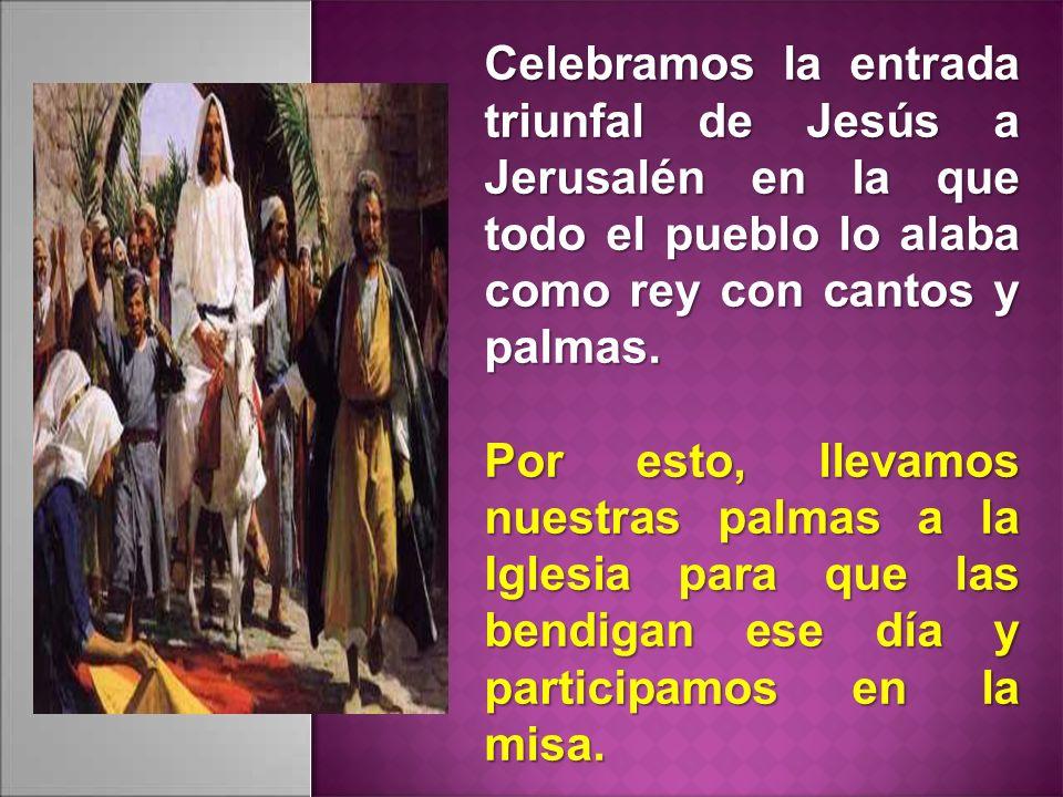 Celebramos la entrada triunfal de Jesús a Jerusalén en la que todo el pueblo lo alaba como rey con cantos y palmas. Por esto, llevamos nuestras palmas