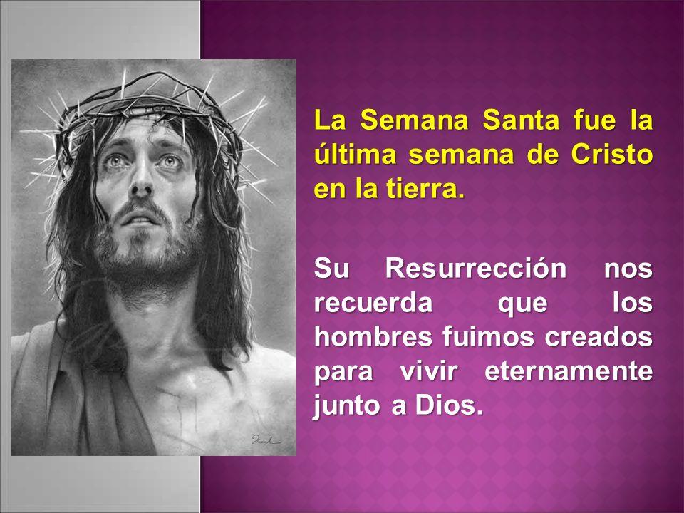 La Semana Santa fue la última semana de Cristo en la tierra. Su Resurrección nos recuerda que los hombres fuimos creados para vivir eternamente junto