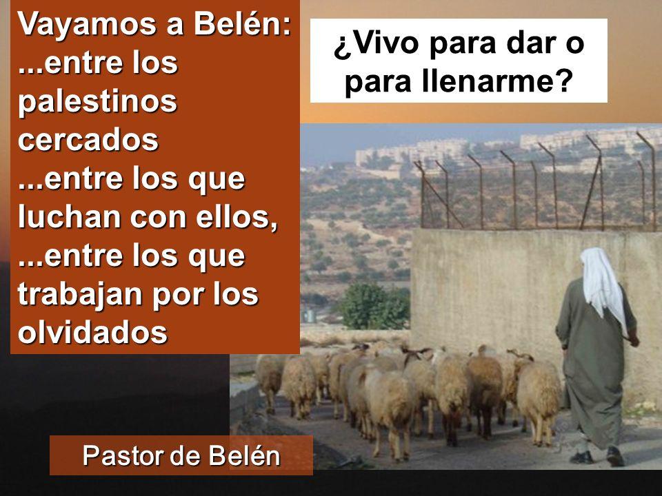 Vayamos a Belén:...entre los palestinos cercados...entre los que luchan con ellos,...entre los que trabajan por los olvidados ¿Vivo para dar o para llenarme.