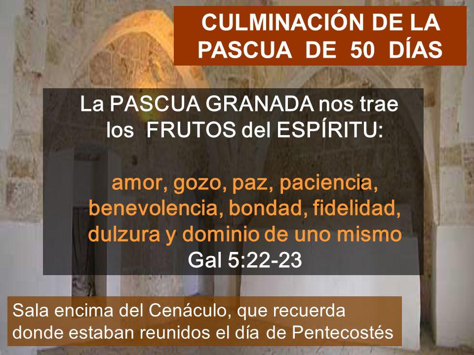 La PASCUA GRANADA nos trae los FRUTOS del ESPÍRITU: amor, gozo, paz, paciencia, benevolencia, bondad, fidelidad, dulzura y dominio de uno mismo Gal 5:22-23 CULMINACIÓN DE LA PASCUA DE 50 DÍAS Sala encima del Cenáculo, que recuerda donde estaban reunidos el día de Pentecostés