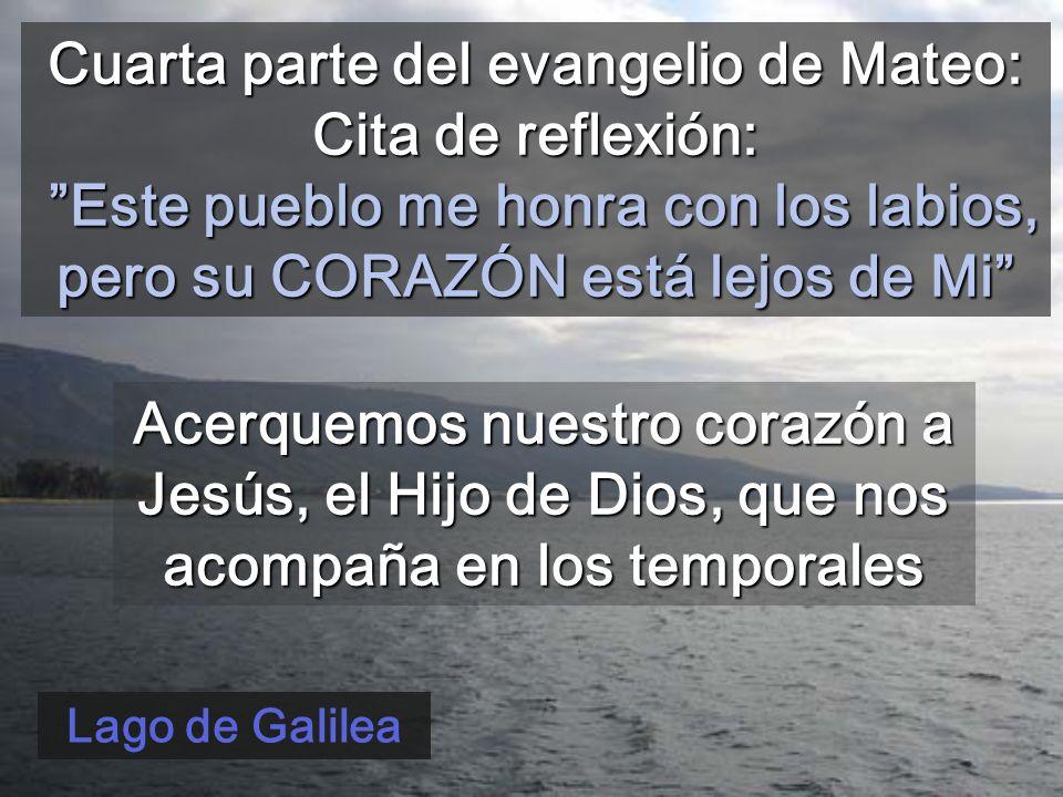 Cuarta parte del evangelio de Mateo: Cita de reflexión: Este pueblo me honra con los labios, pero su CORAZÓN está lejos de Mi Lago de Galilea Acerquemos nuestro corazón a Jesús, el Hijo de Dios, que nos acompaña en los temporales