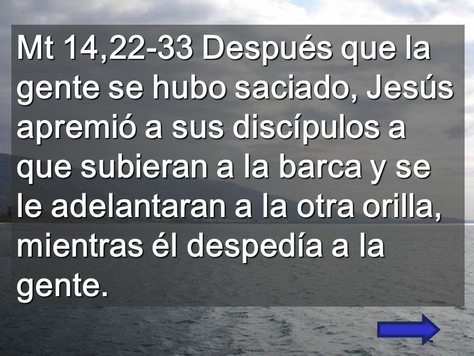Mt 14,22-33 Después que la gente se hubo saciado, Jesús apremió a sus discípulos a que subieran a la barca y se le adelantaran a la otra orilla, mientras él despedía a la gente.