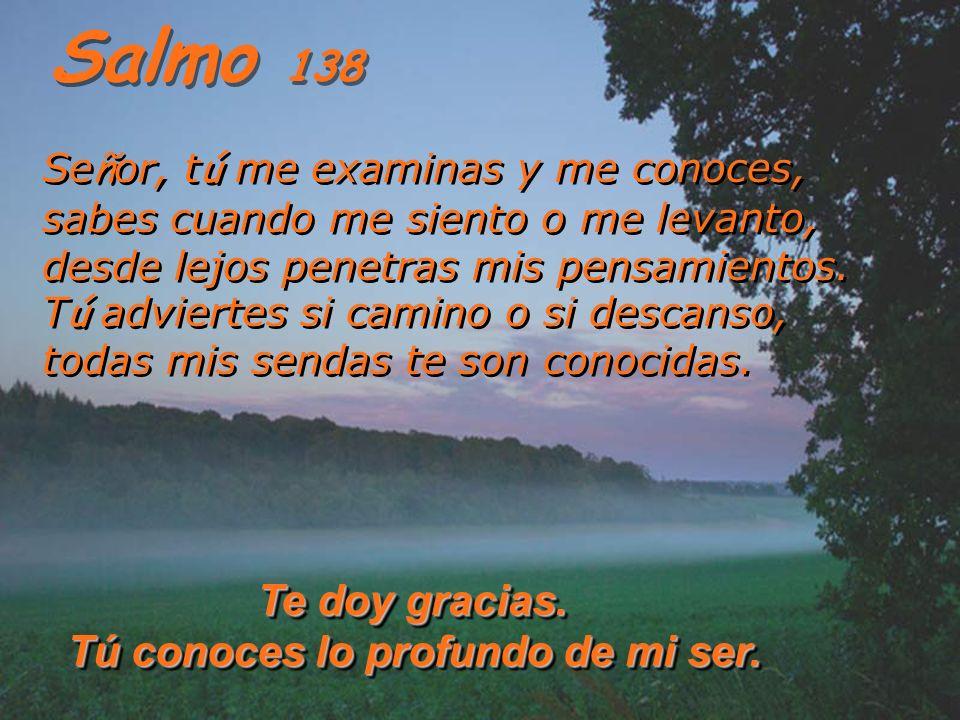 Salmo 138 Se ñ or, t ú me examinas y me conoces, sabes cuando me siento o me levanto, desde lejos penetras mis pensamientos.