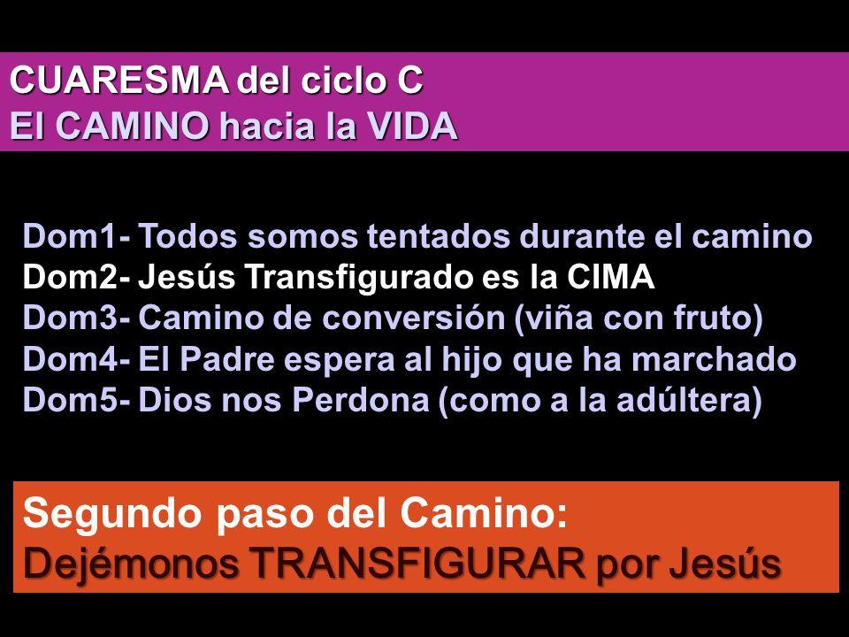 CUARESMA del ciclo C El CAMINO hacia la VIDA Dom1- Todos somos tentados durante el camino Dom2- Jesús Transfigurado es la CIMA Dom3- Camino de convers