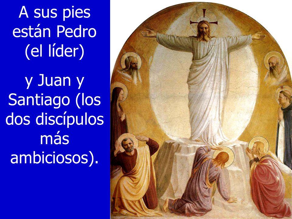 A sus pies están Pedro (el líder) y Juan y Santiago (los dos discípulos más ambiciosos).