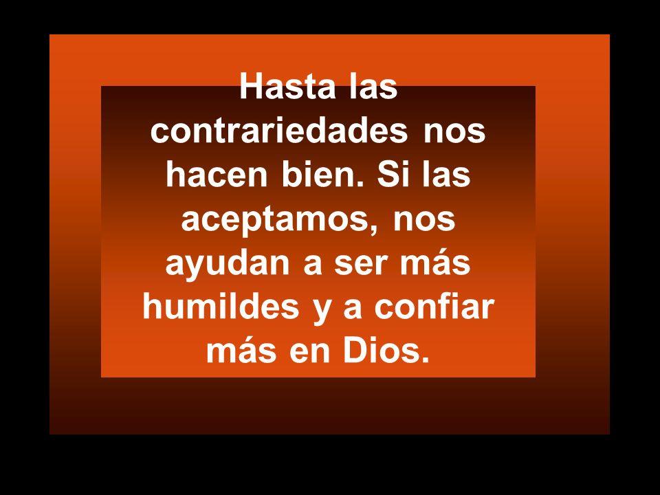 Hasta las contrariedades nos hacen bien. Si las aceptamos, nos ayudan a ser más humildes y a confiar más en Dios.