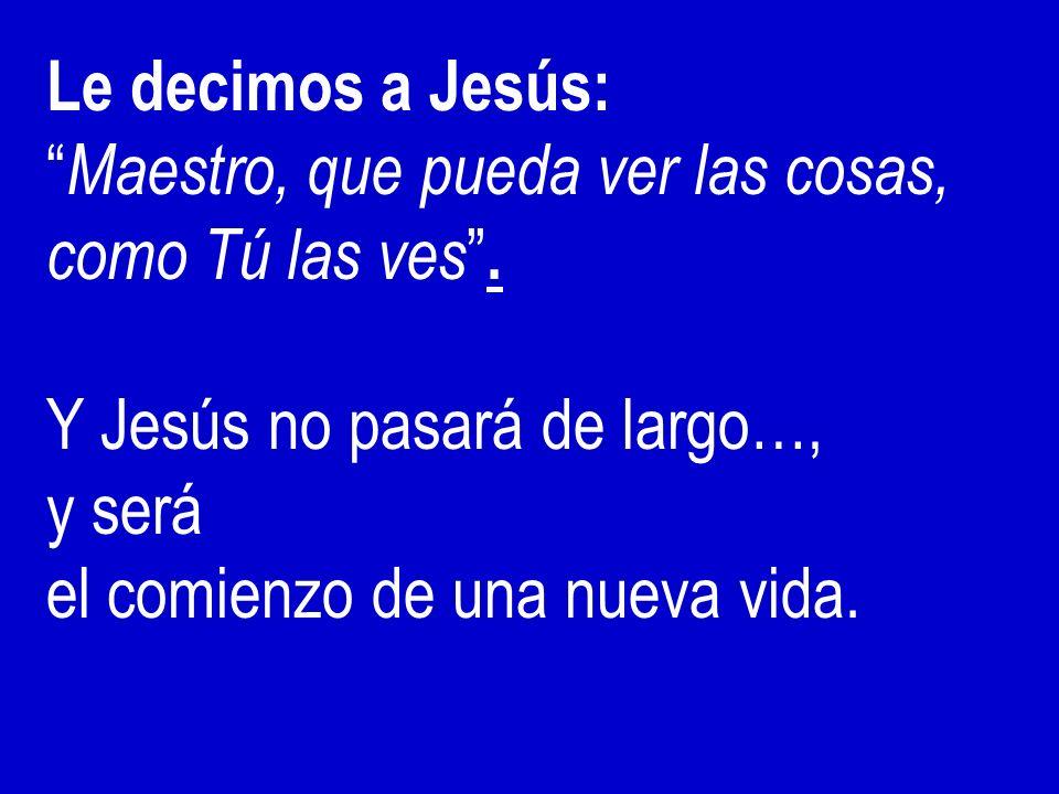Le decimos a Jesús: Maestro, que pueda ver las cosas, como Tú las ves. Y Jesús no pasará de largo…, y será el comienzo de una nueva vida.