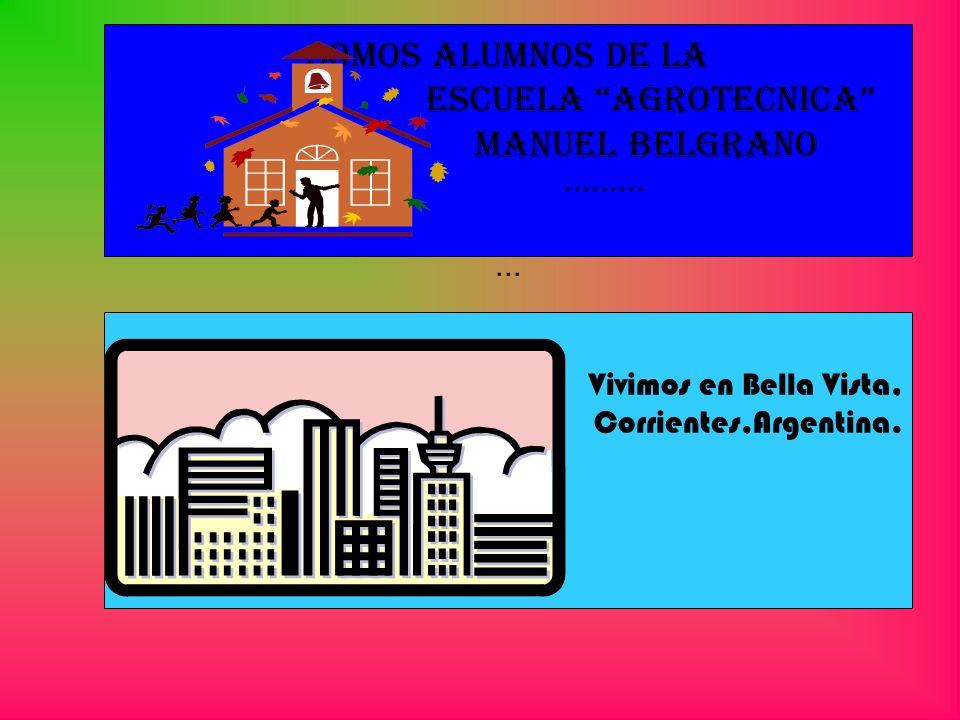 Somos alumnos de la Escuela Agrotecnica Manuel Belgrano ········· ··· Vivimos en Bella Vista, Corrientes,Argentina.