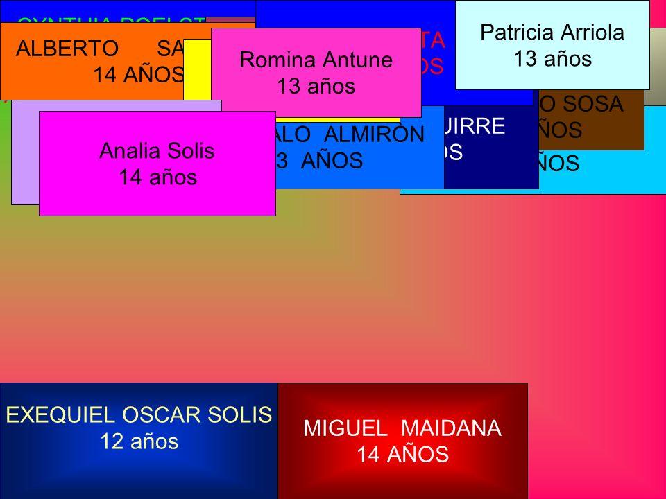 OSCAR ALONSO 15 AÑOS CATALINA GONZÀLEZ 15 AÑOS CYNTHIA POELSTRA 14 AÑOS LILIANA MEZA 15 AÑOS MARCELO FLORES 15 AÑOS ERICA SEGOVIA 15 AÑOS YAMILA LEDESMA 15 AÑOS ROLANDO SOSA 14 AÑOS EXEQUIEL OSCAR SOLIS 12 años MIGUEL MAIDANA 14 AÑOS OVIDIO AGUIRRE 14 AÑOS ARNALDO BENITEZ 14 años GONZALO ALMIRÒN 13 AÑOS ALBERTO SANCHEZ 14 AÑOS EMILIO ACOSTA LEYES 15 AÑOS IVAN FLEITA 12 AÑOS Romina Antune 13 años Sofia Antune 12 años Patricia Arriola 13 años Analia Solis 14 años
