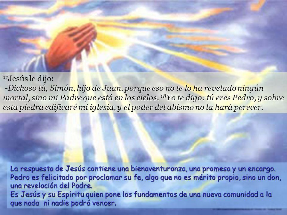 16 Simón Pedro respondió: -Tú eres el Mesías, el Hijo de Dios vivo.