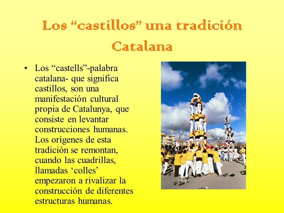 Los castillos una tradición Catalana Los castells-palabra catalana- que significa castillos, son una manifestación cultural propia de Catalunya, que consiste en levantar construcciones humanas.