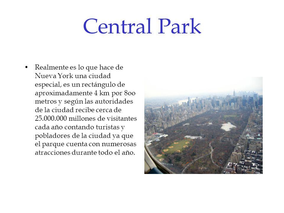 Central Park Realmente es lo que hace de Nueva York una ciudad especial, es un rectángulo de aproximadamente 4 km por 8oo metros y según las autoridad