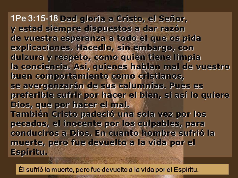Dad gloria a Cristo, el Señor, y estad siempre dispuestos a dar razón de vuestra esperanza a todo el que os pida explicaciones.