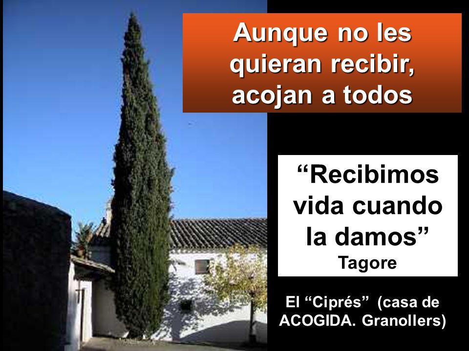 Recibimos vida cuando la damos Tagore Aunque no les quieran recibir, acojan a todos El Ciprés (casa de ACOGIDA. Granollers)