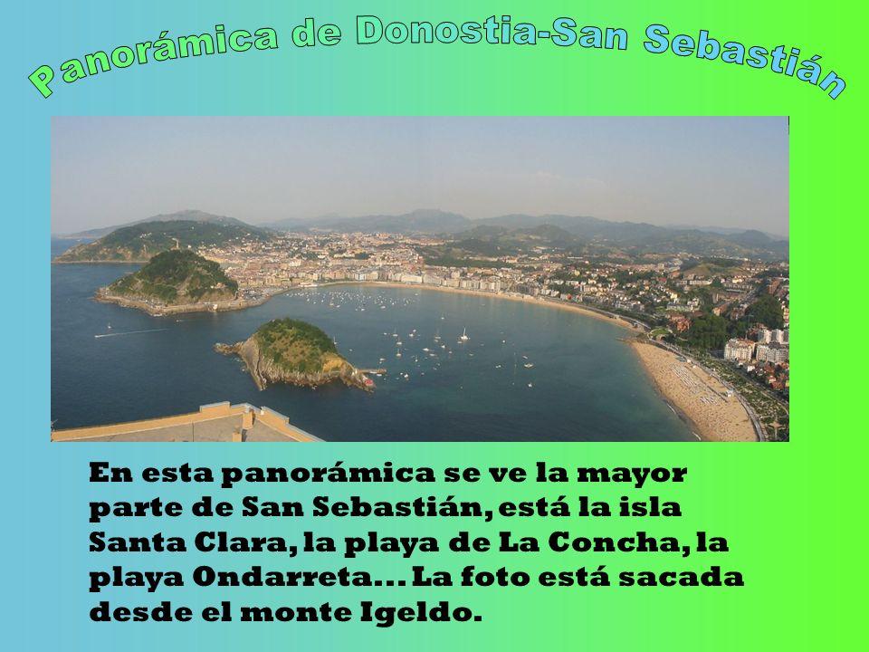 En esta panorámica se ve la mayor parte de San Sebastián, está la isla Santa Clara, la playa de La Concha, la playa Ondarreta... La foto está sacada d