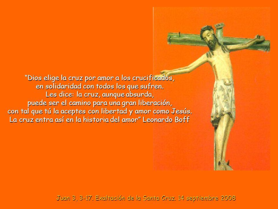Dios elige la cruz por amor a los crucificados, en solidaridad con todos los que sufren.