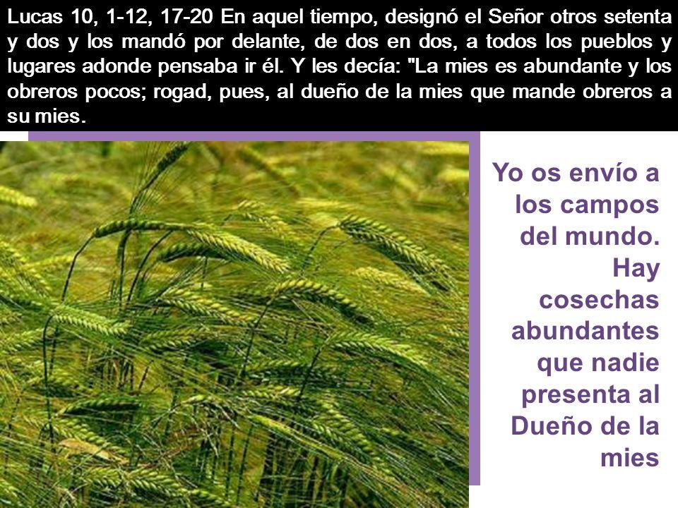 Lucas 10, 1-12, 17-20 En aquel tiempo, designó el Señor otros setenta y dos y los mandó por delante, de dos en dos, a todos los pueblos y lugares adonde pensaba ir él.
