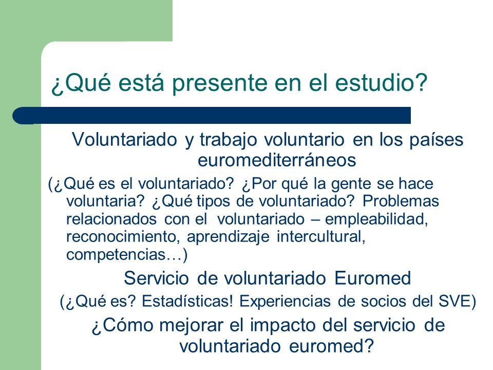 ¿Qué está presente en el estudio? Voluntariado y trabajo voluntario en los países euromediterráneos (¿Qué es el voluntariado? ¿Por qué la gente se hac