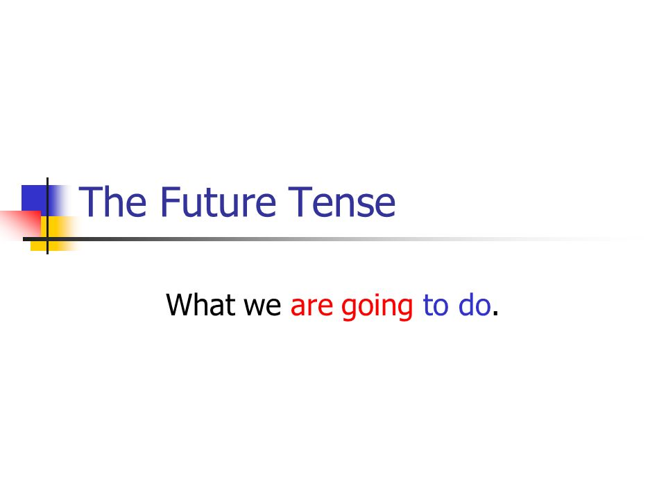 The Future Tense What we are going to do.