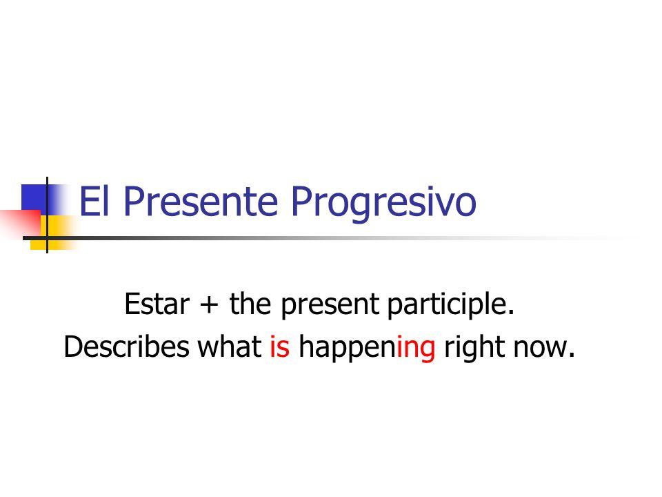 Estar in the present tense.SingularPlural YoEstoyNosotrosEstamos TúEstásVosotrosEstáis Él Ella Ud.