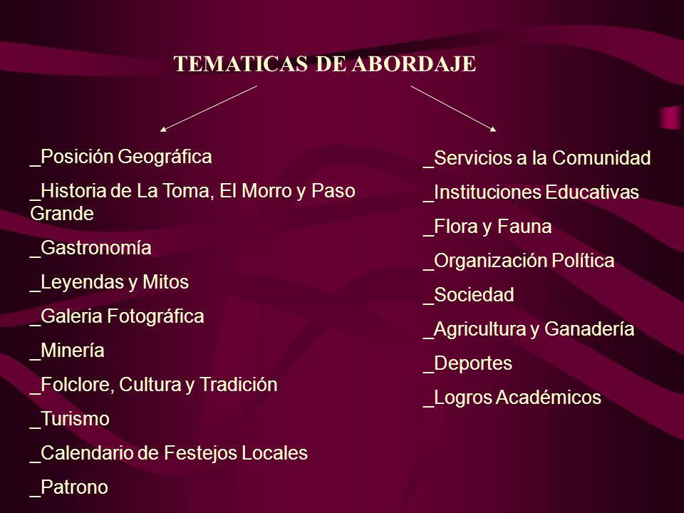 _Posición Geográfica _Historia de La Toma, El Morro y Paso Grande _Gastronomía _Leyendas y Mitos _Galeria Fotográfica _Minería _Folclore, Cultura y Tr