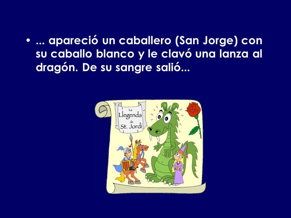 ... apareció un caballero (San Jorge) con su caballo blanco y le clavó una lanza al dragón. De su sangre salió...