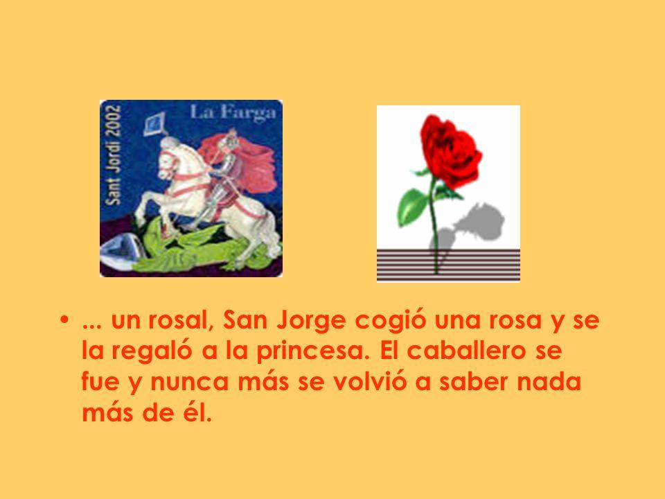 ... un rosal, San Jorge cogió una rosa y se la regaló a la princesa. El caballero se fue y nunca más se volvió a saber nada más de él.