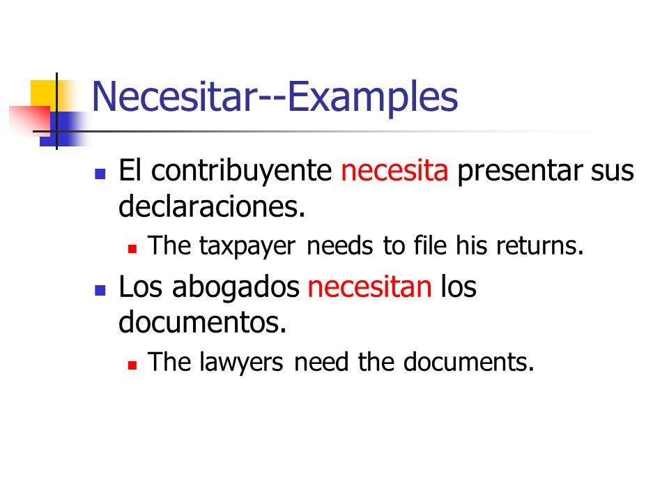 Necesitar--Examples El contribuyente necesita presentar sus declaraciones.