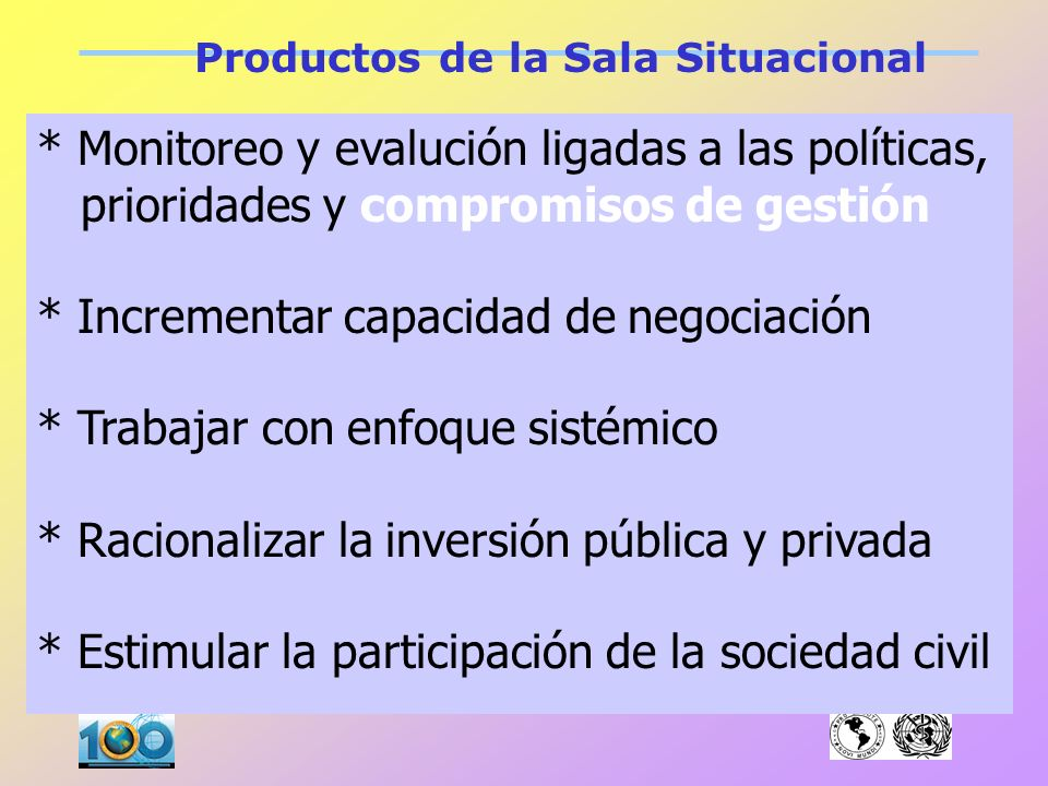 Productos de la Sala Situacional * Fortalecer capacidad de anticipación * Planificación estratégica de los Servicios Sociales y de Salud. (Necesidades